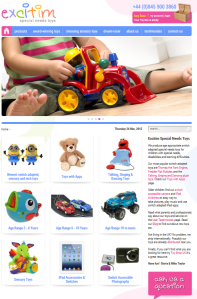 Screen shot of Excitim's special-needs-toys website.